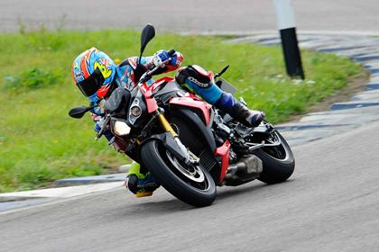 Cornering on track on the BMW S1000R