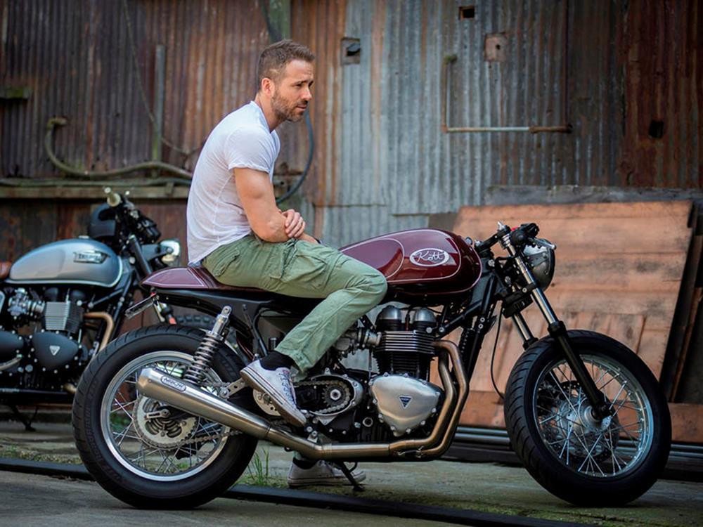 Celebrity juice: Ryan Reynolds' retro Triumph by Kott Motorcycles |