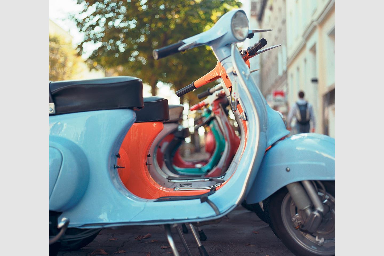 Lambretta 70 Years Anniversary Blue mod scooter flag
