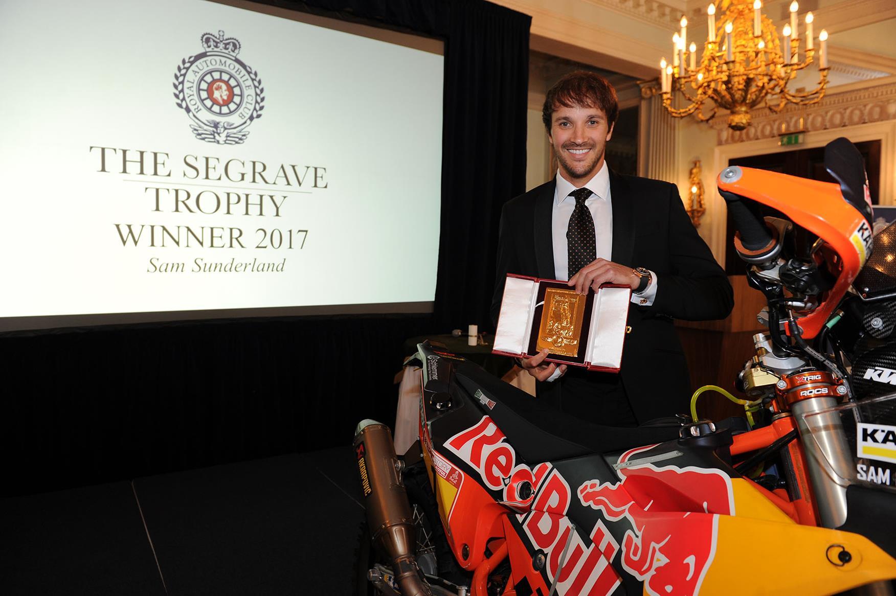 Sam Sunderland is awarded prestigious Segrave Trophy