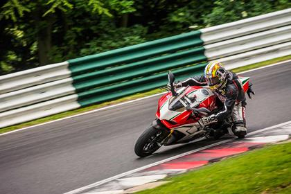 MCN's Child tests the bike at Cadwell Park