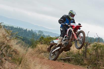 The 2019 Honda CRF450L being ridden by MCN Sports Editor, Michael Guy