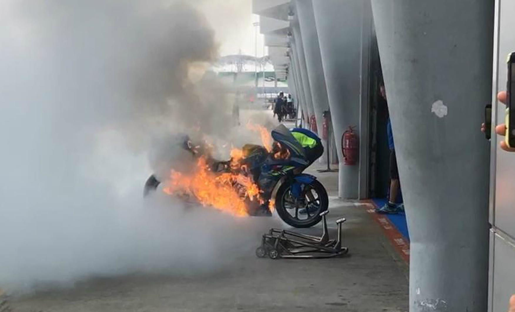 Flipboard: Suzuki: MotoGP: Suzuki bike destroyed in pit lane fire