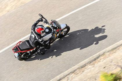 Moto Guzzi V85TT cornering action