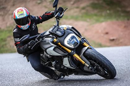Ducati Diavel cornering action shot