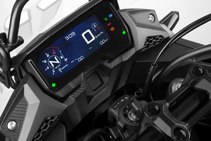 A neat LCD dash houses important rider information