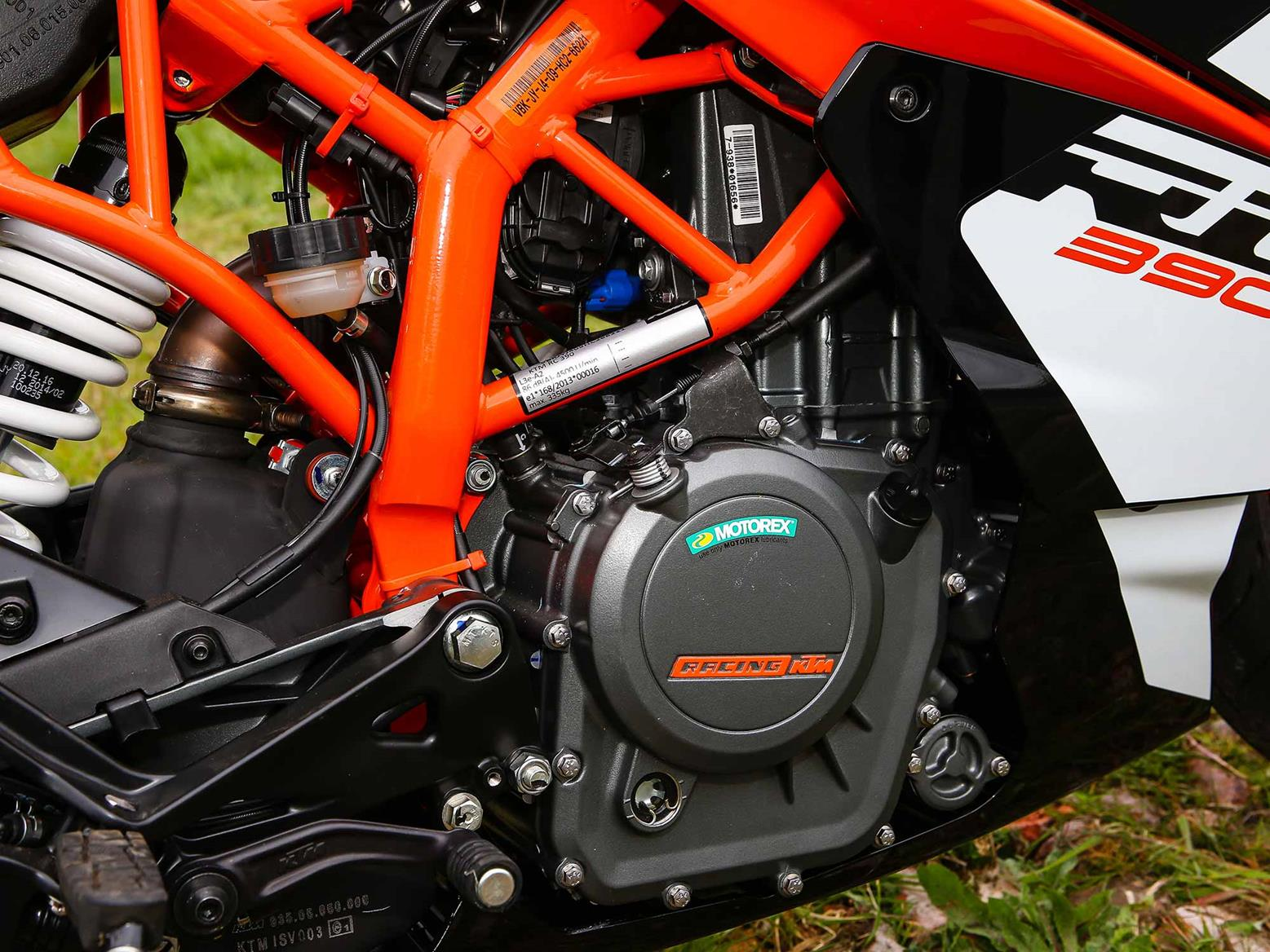 The KTM RC390 features a single-cylinder engine
