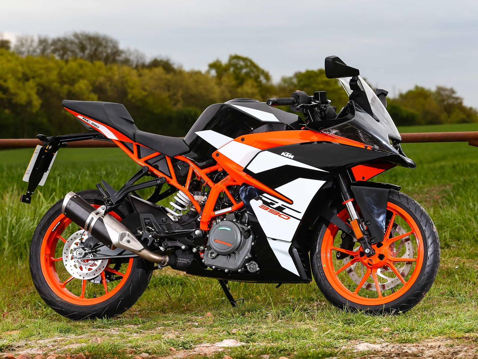 A side-on view of the KTM RC390
