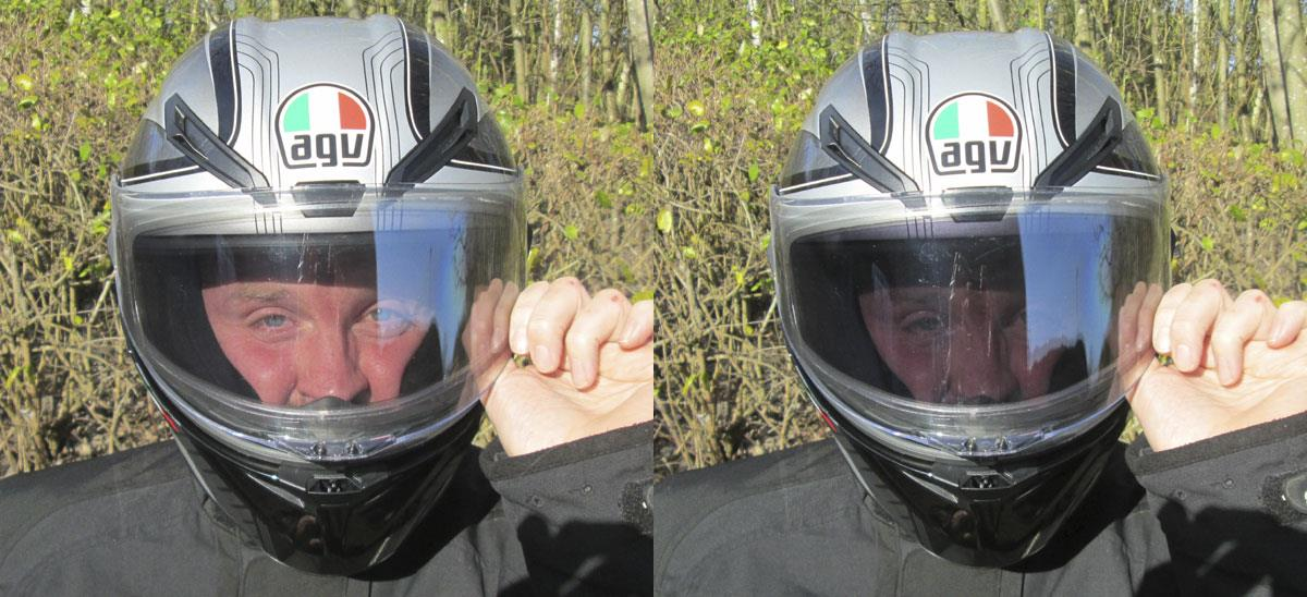 AG Visor before and after