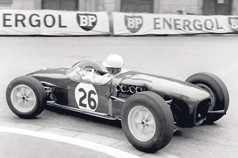 John Surtees in his Ferrari Formula 1 car