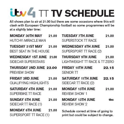 ITV's TV guide for TT 2016