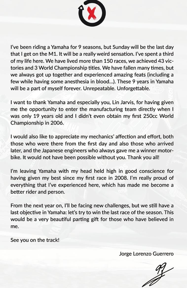 MotoGP Lorenzos goodbye letter to Yamaha MCN