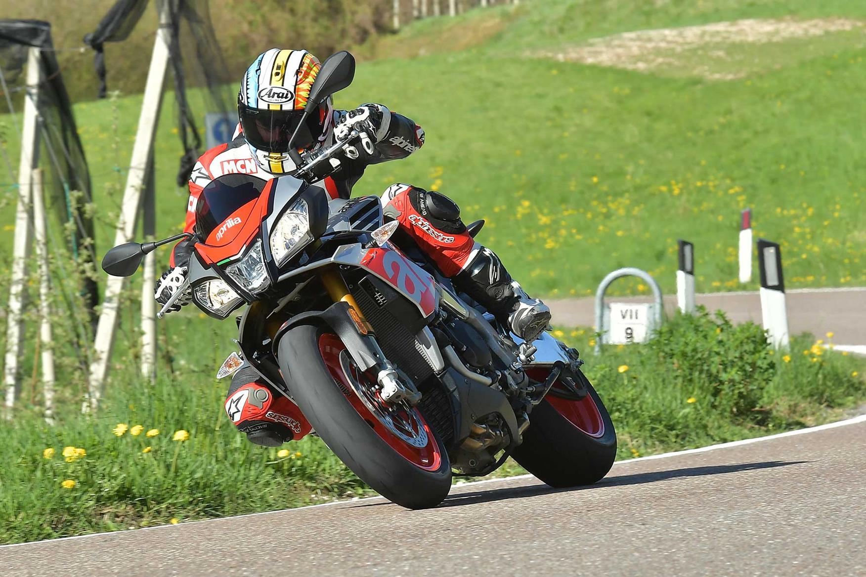 Aprilial Tuono V4 1100 turning right