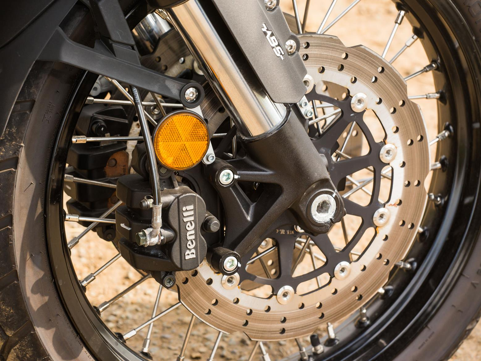 The Benelli TRK 502's front wheel