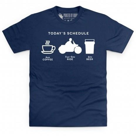 Riding schedule motorcycle t-shirt