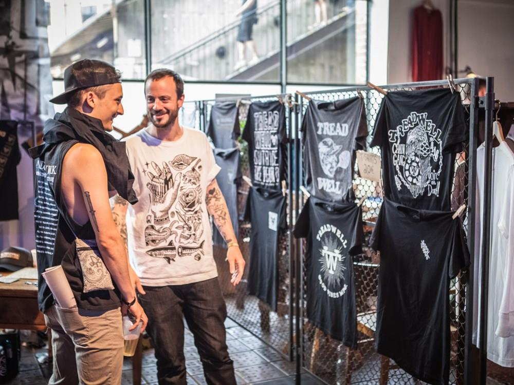Liam Cormier of Canadian punk band Cancer bats Treadwell clothing pop-up shop