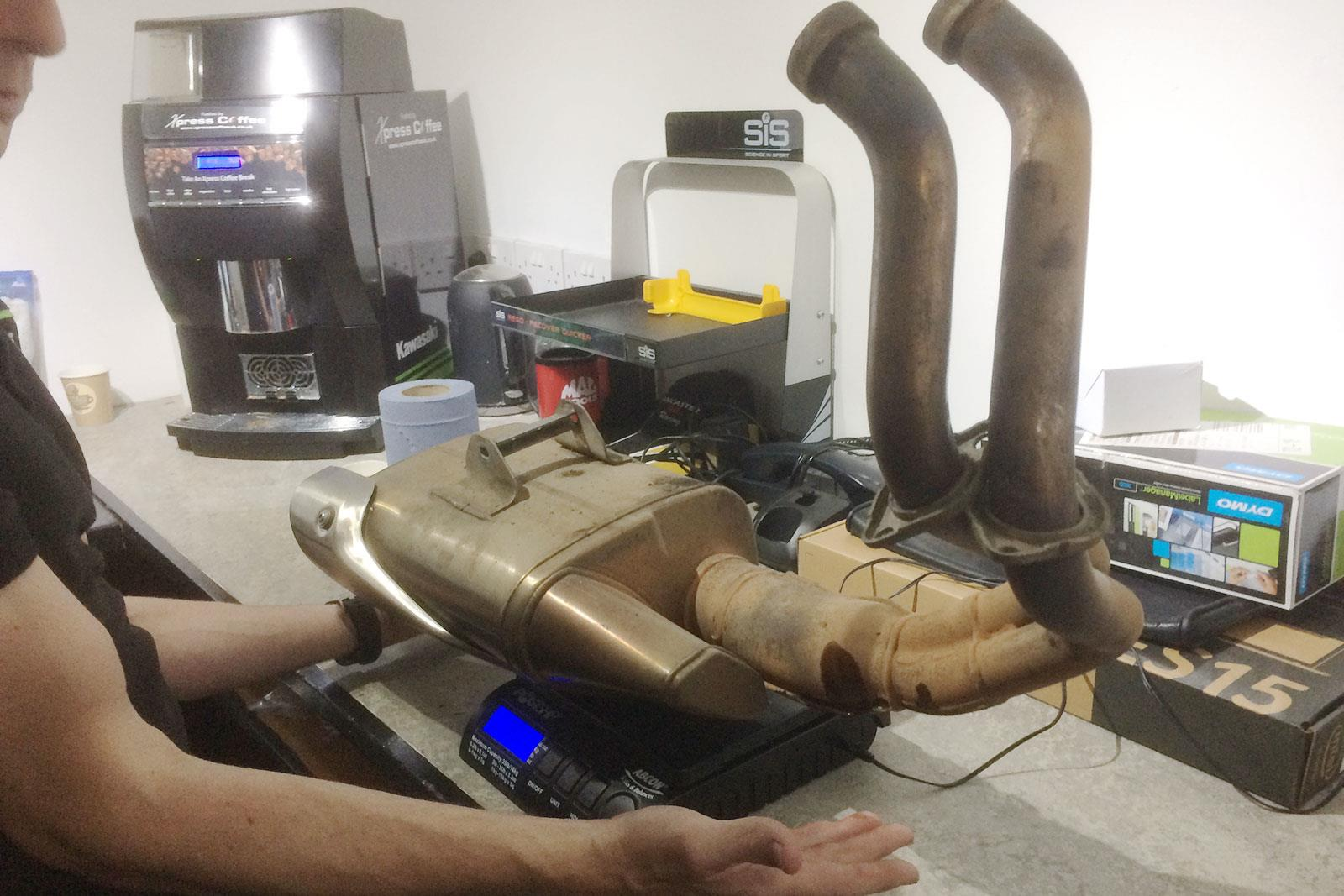 Ninja 650 exhaust system on the scales