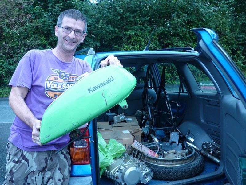 Dave and his boxes of Kawasaki H1a bits