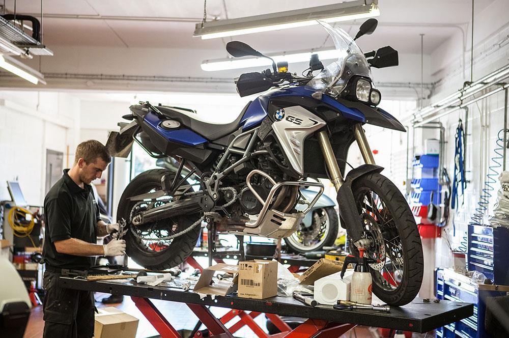 Motorcycle in the workshop
