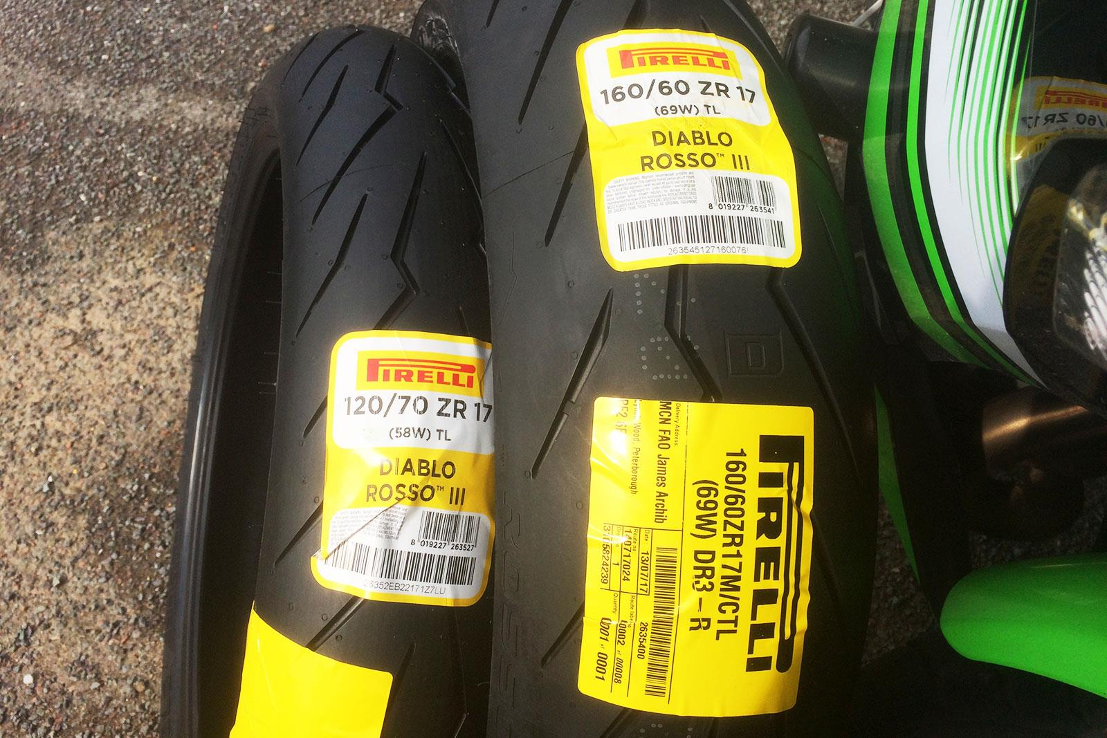 Pirelli Diablo Rosso III tyres ready to be fitted