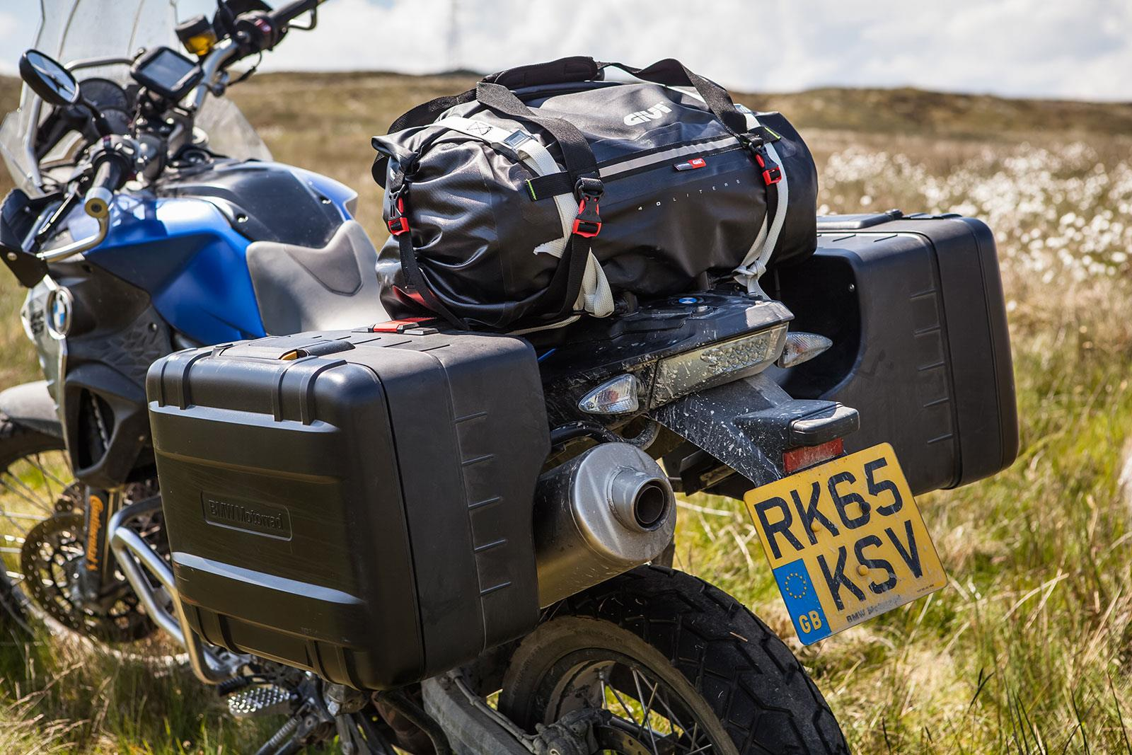 BMW F800GS loaded up with luggage