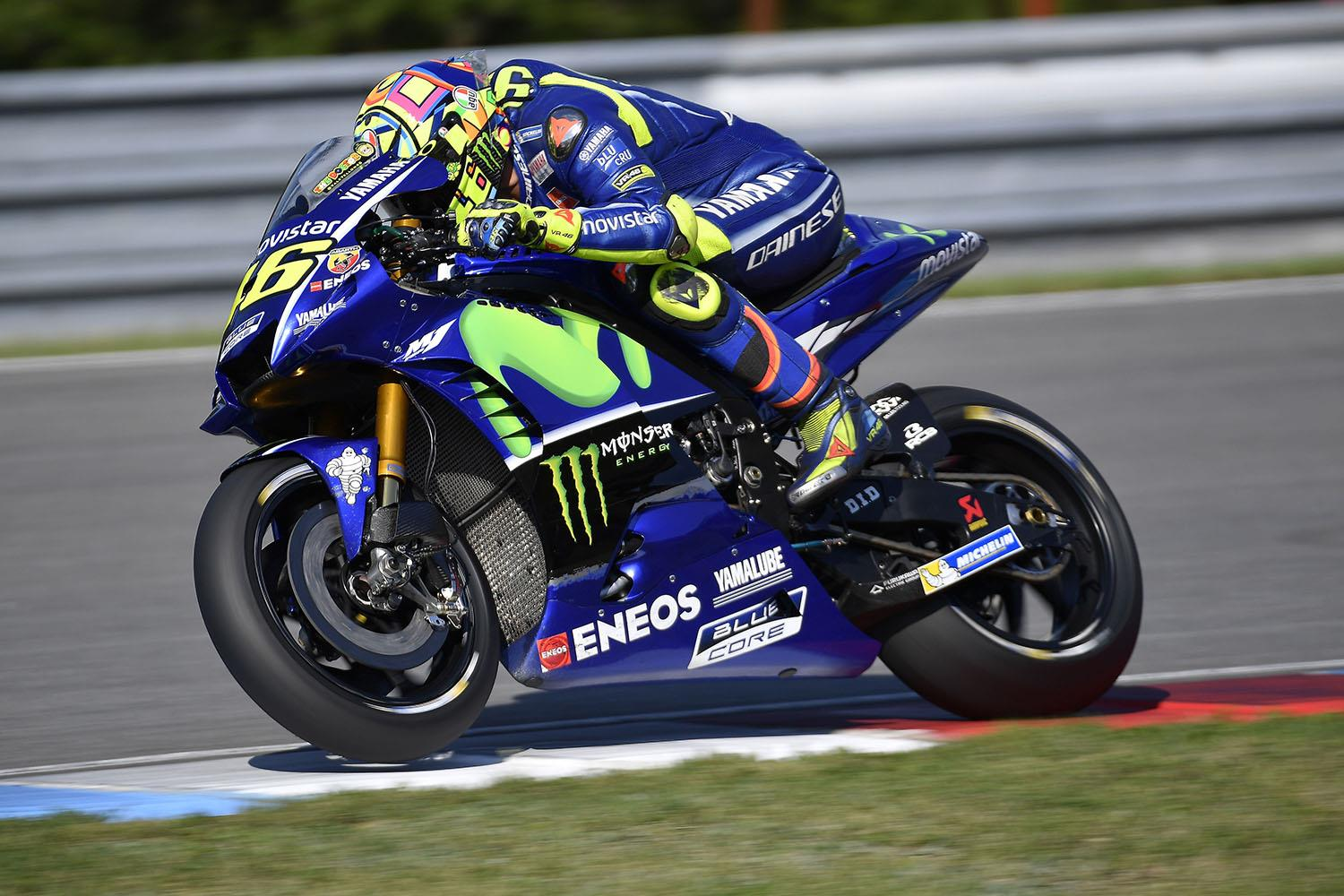 motogp rossi tops brno test with new carbon forks mcn. Black Bedroom Furniture Sets. Home Design Ideas