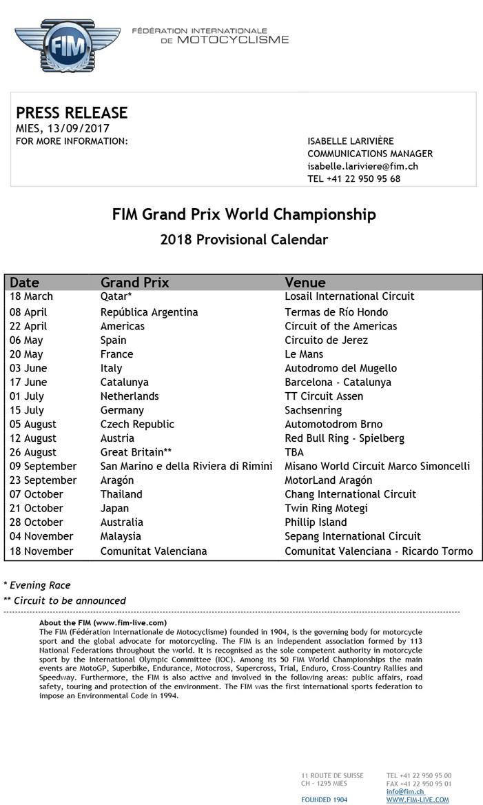 MotoGP: Provisional 2018 calendar announced | MCN