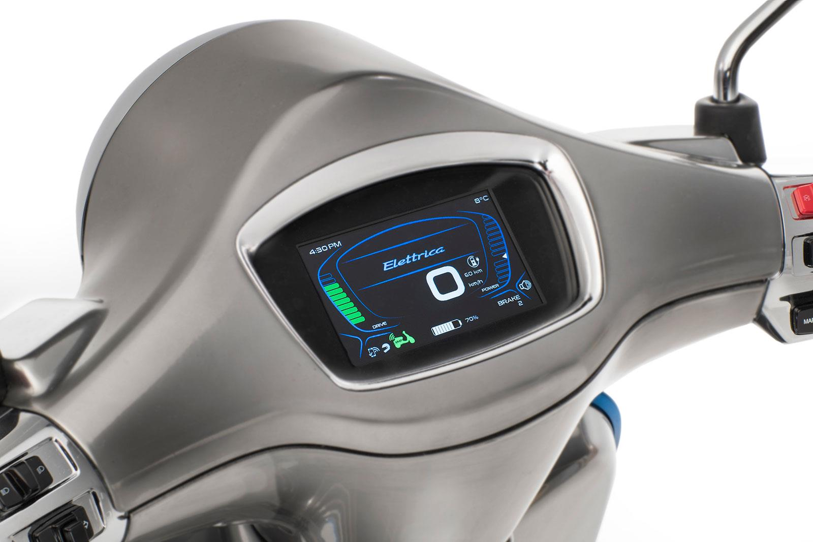 The TFT dash on the Vespa Elettrica betrays its modernity