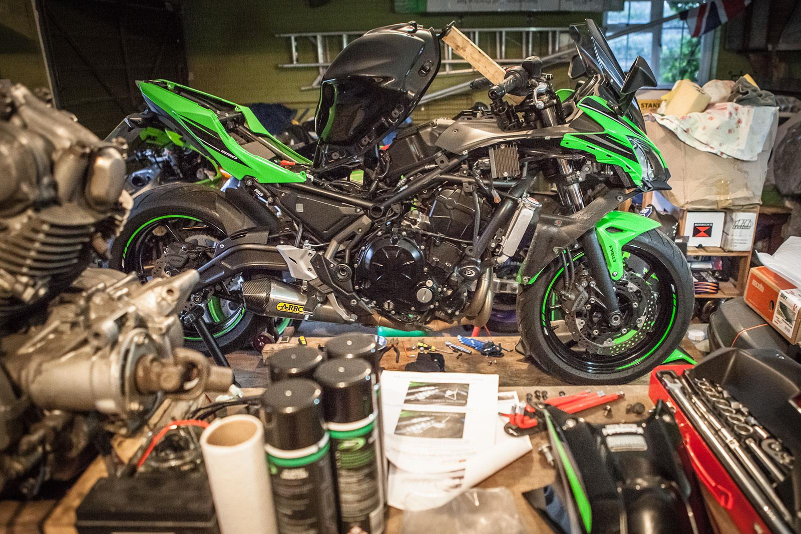 Kawasaki Ninja 650 on the workbench