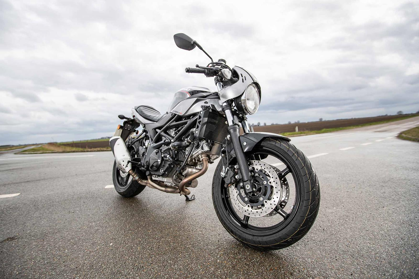 The standard set-up on the Suzuki SV650X