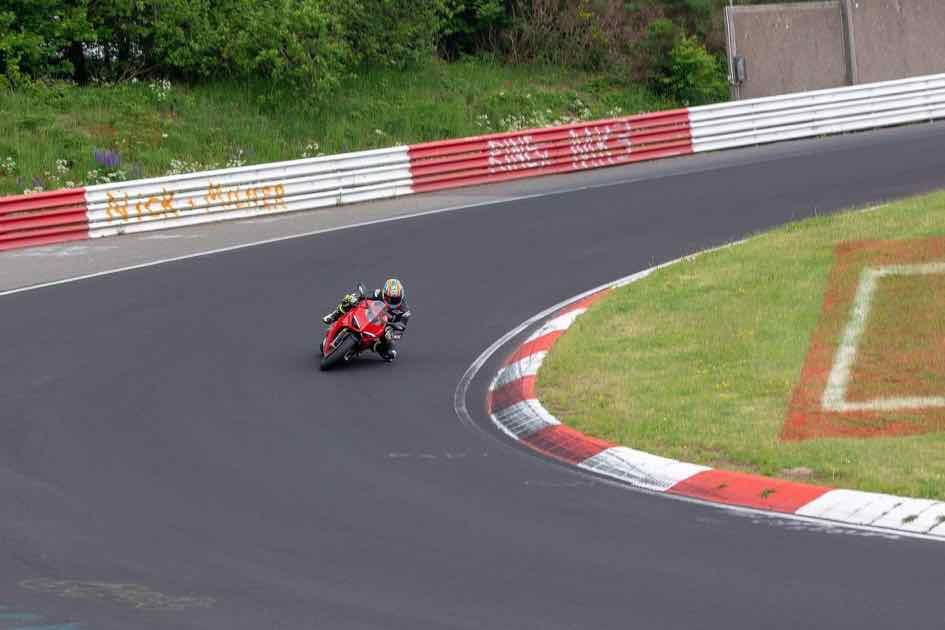The Ducati Panigale V4 S on track