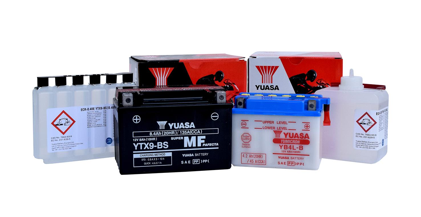 Yuasa offer a range of motorcycle batteries