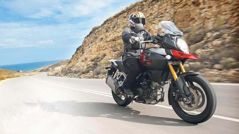 The Suzuki V-Strom 1000 is the cheapest of the large adventure bikes