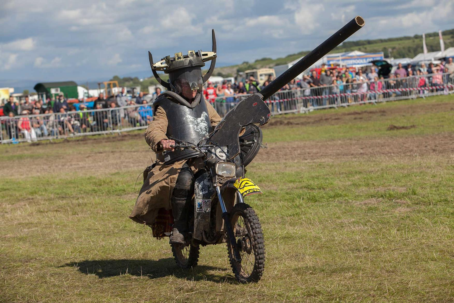 A member of the Purple Helmets display team