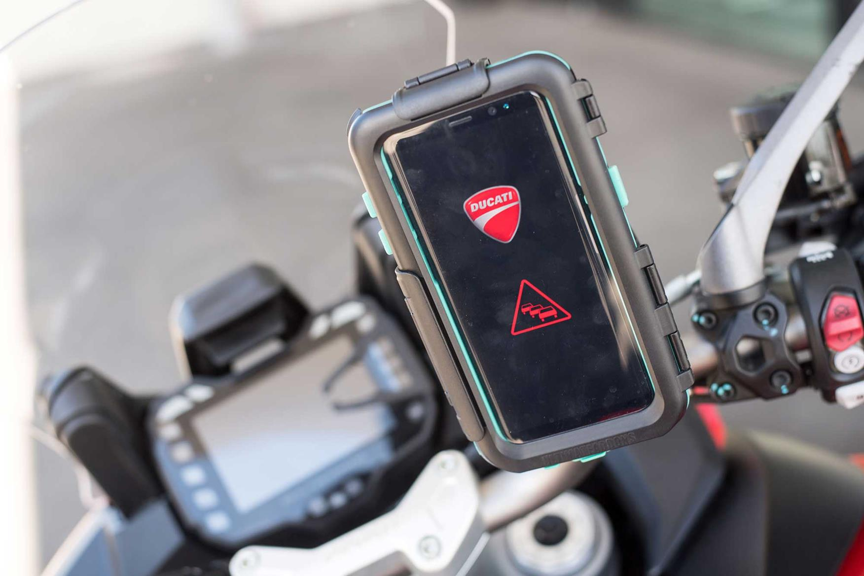 Ducati demonstrated their anti-crash tech with a Multistrada