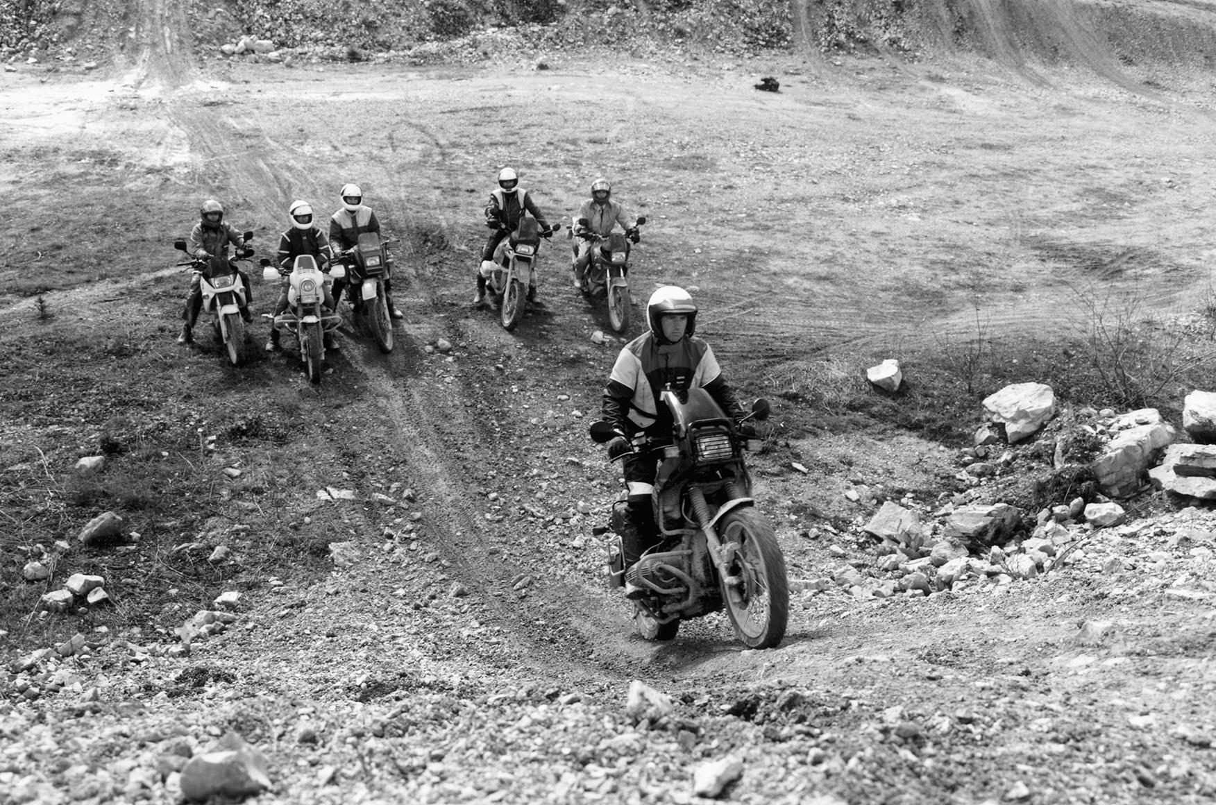 BMW riders enjoying the abandoned quarry site in 1994