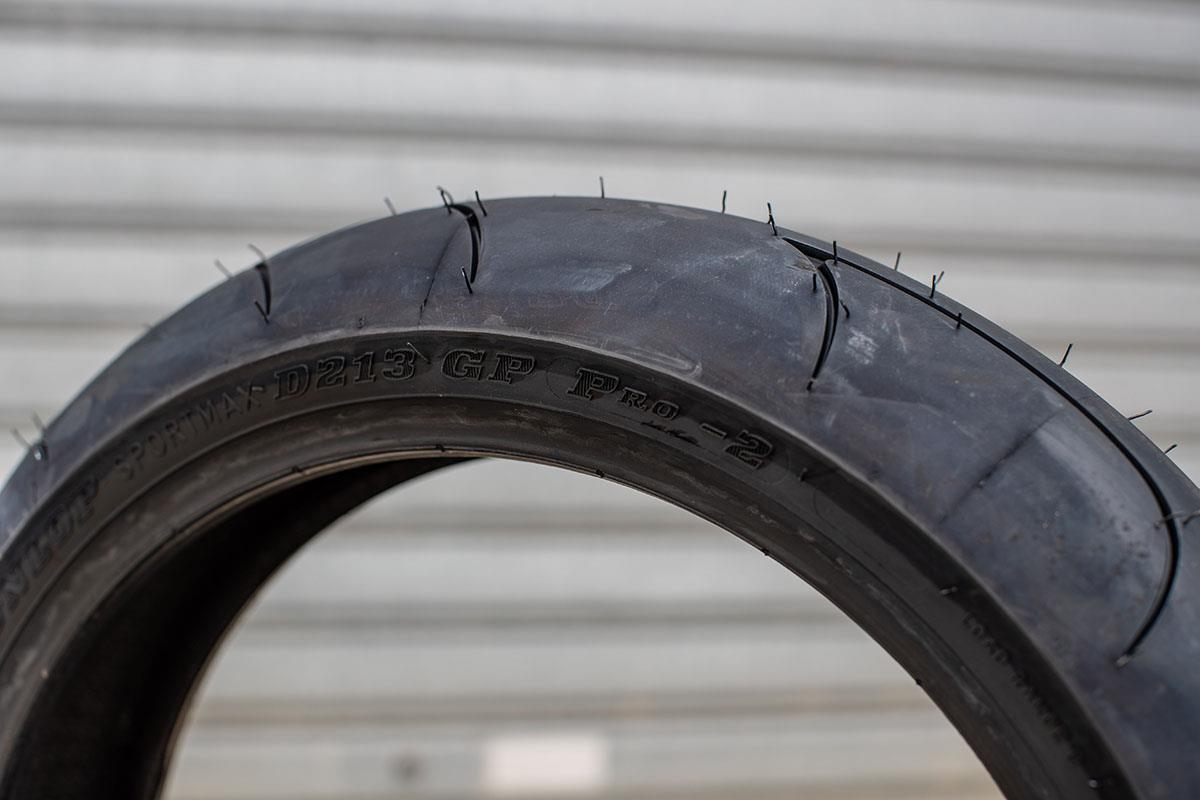 The racing tyres: Dunlop D213GP Pro