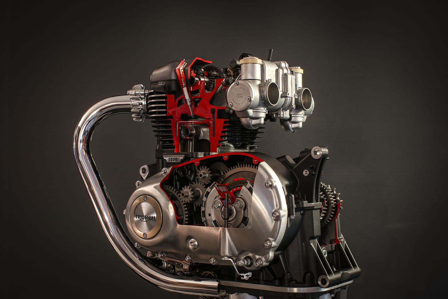 A cross-section of Triumph's 1200cc parallel-twin engine