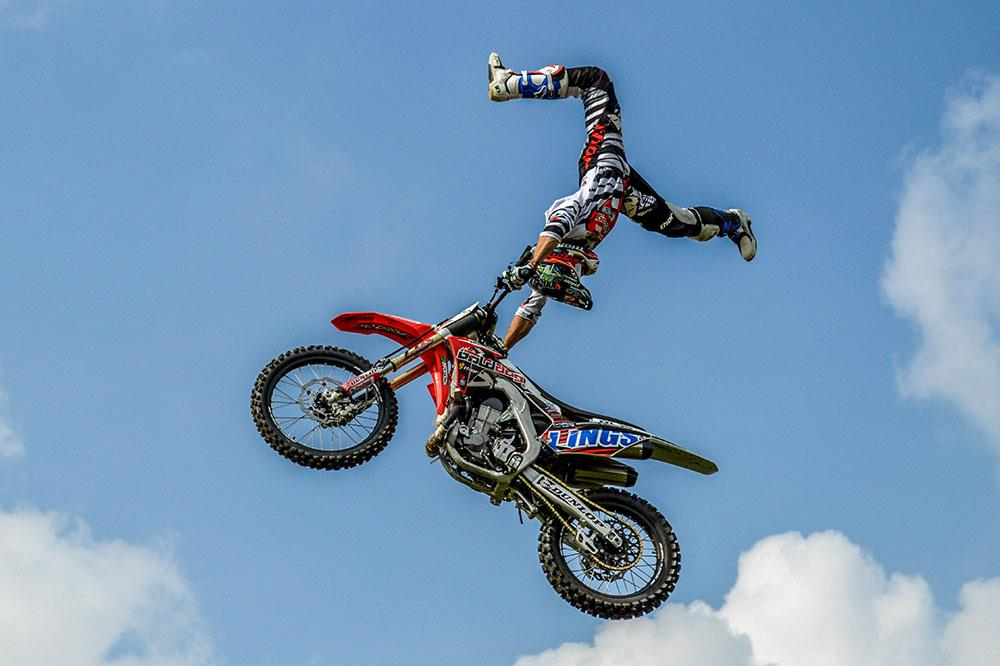 A member of the Bolddog FMX team in action