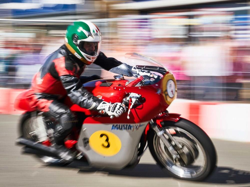 An MV Agusta taking part in the Brackley Festival of Motorcycling