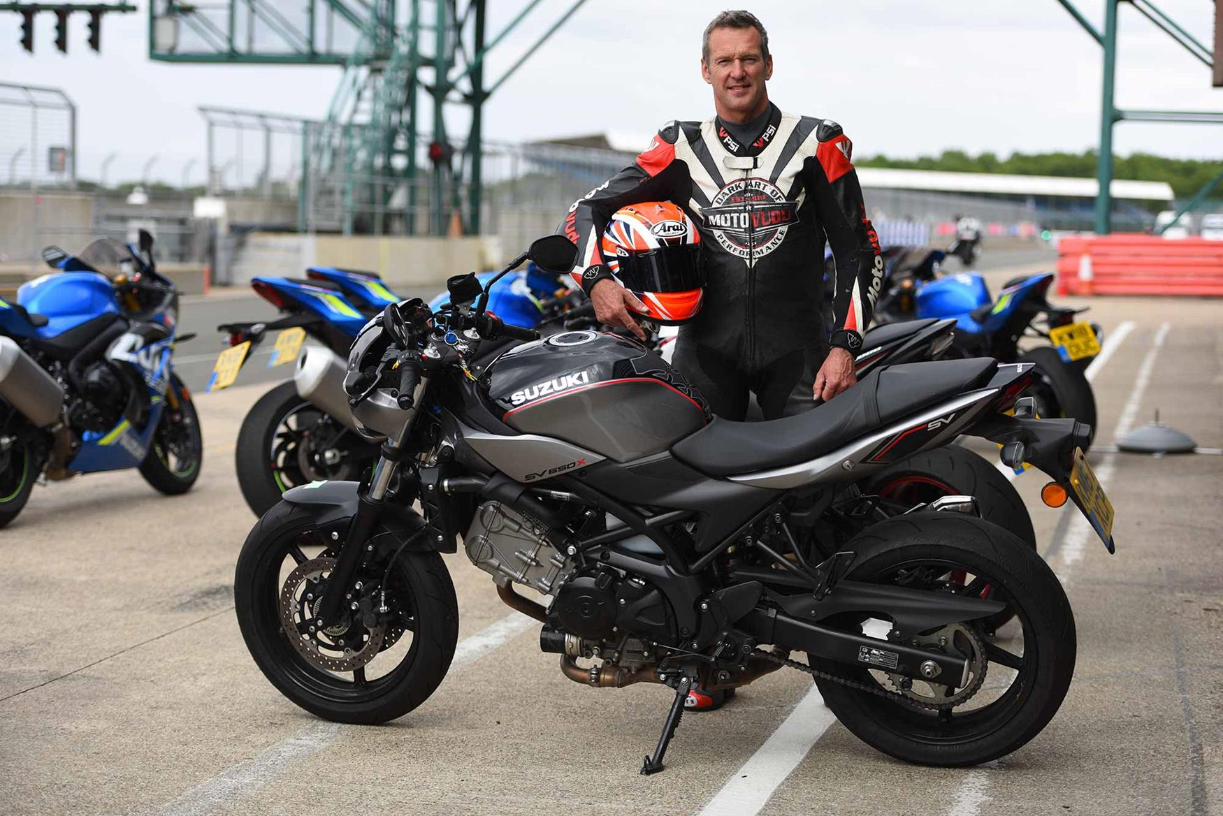 Crafar tries out the MCN Fleet Suzuki SV650X for size