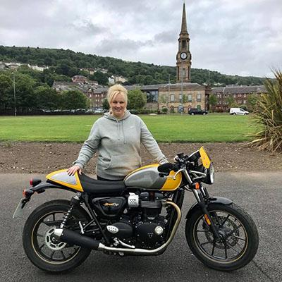 Previous competition winner, Lynsey, won a Triumph Street Cup