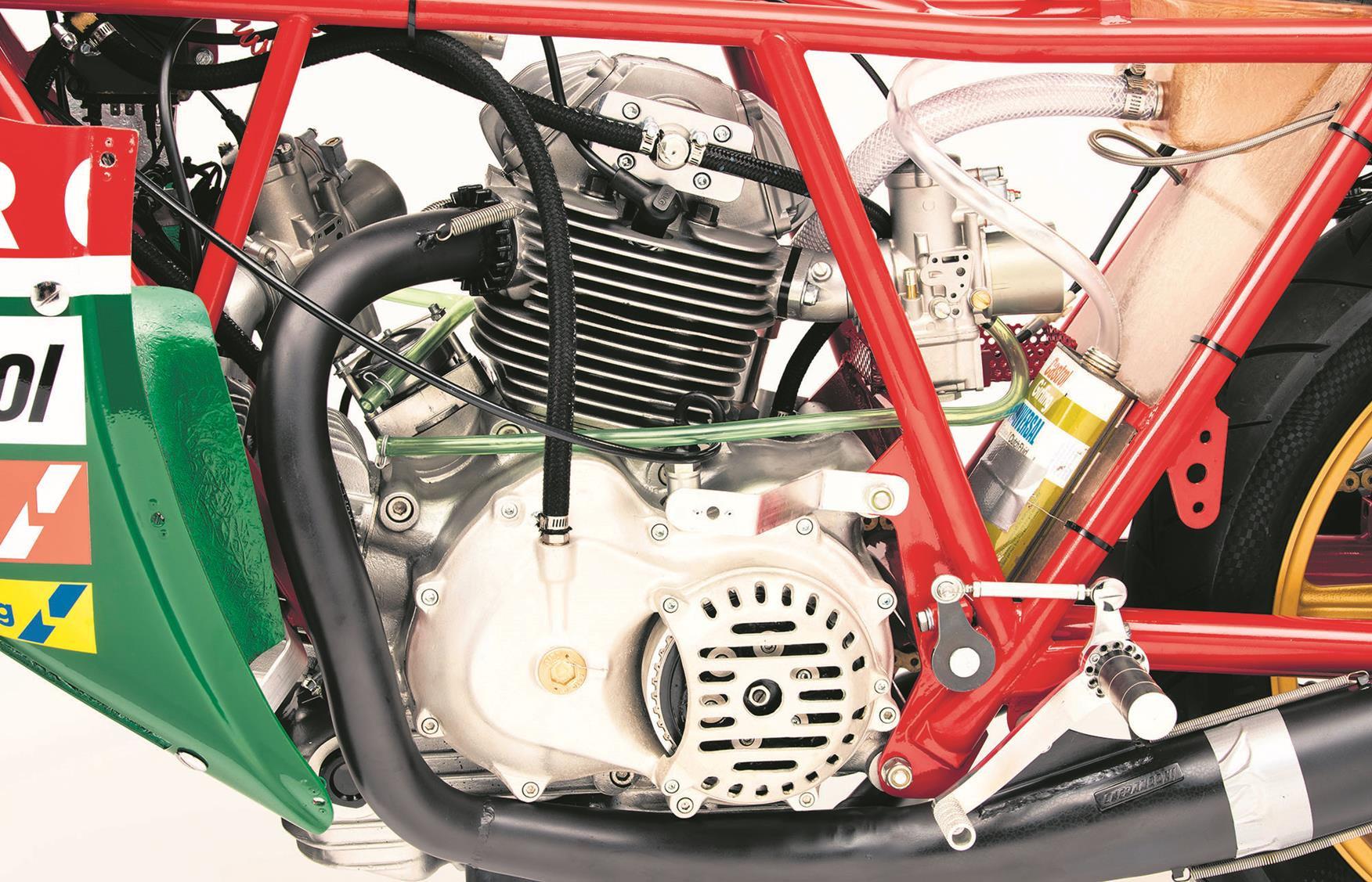 The bevel-drive twin is identical to Hailwood's bike