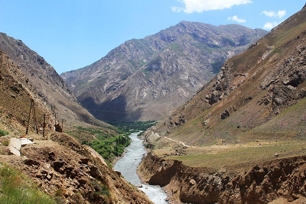 Tajikistan on the left and Afghanistan on the right
