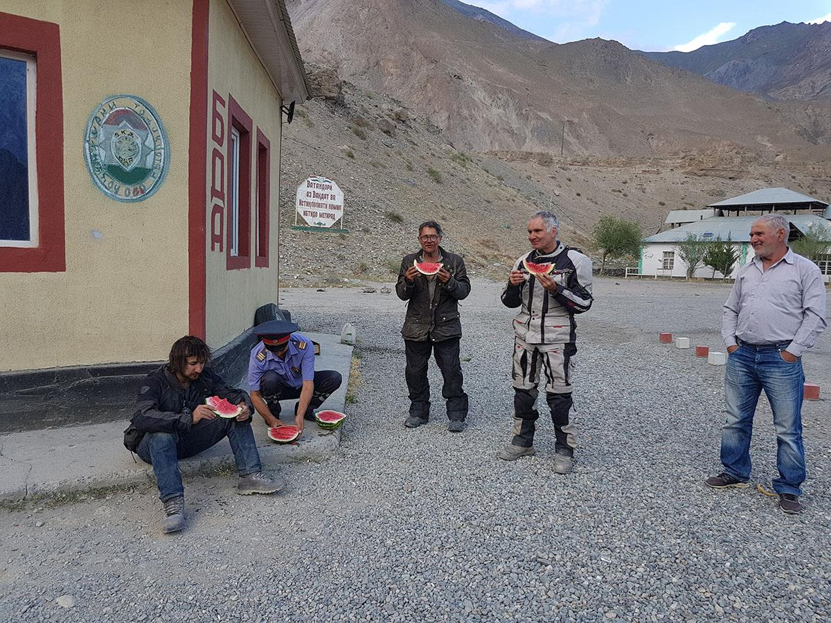 Sharing watermelons with Afghanistan military at checkpoints