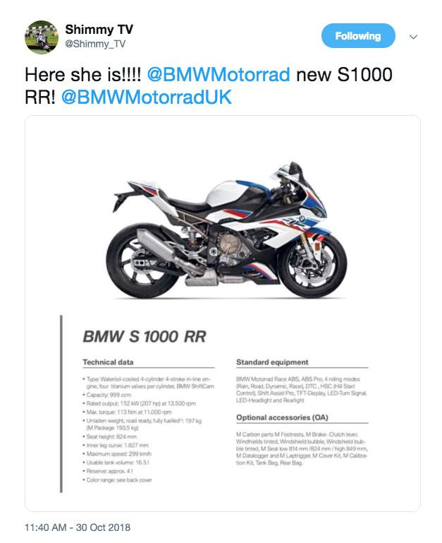 Leaked 2019 Bmw S1000rr Spec Appears Online