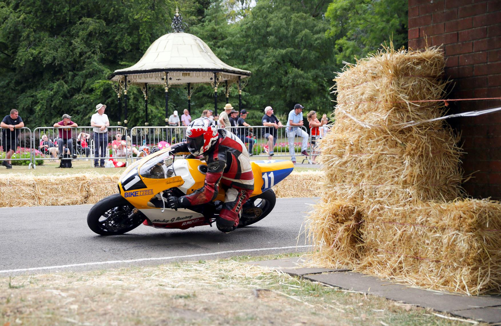 Bales of hay are still a common safety feature at road races