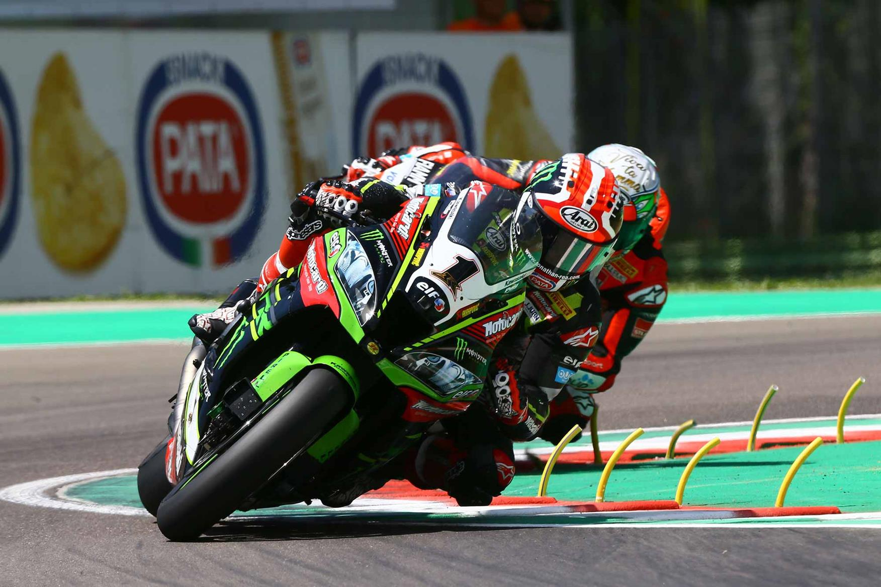 Rea takes a corner at Imola