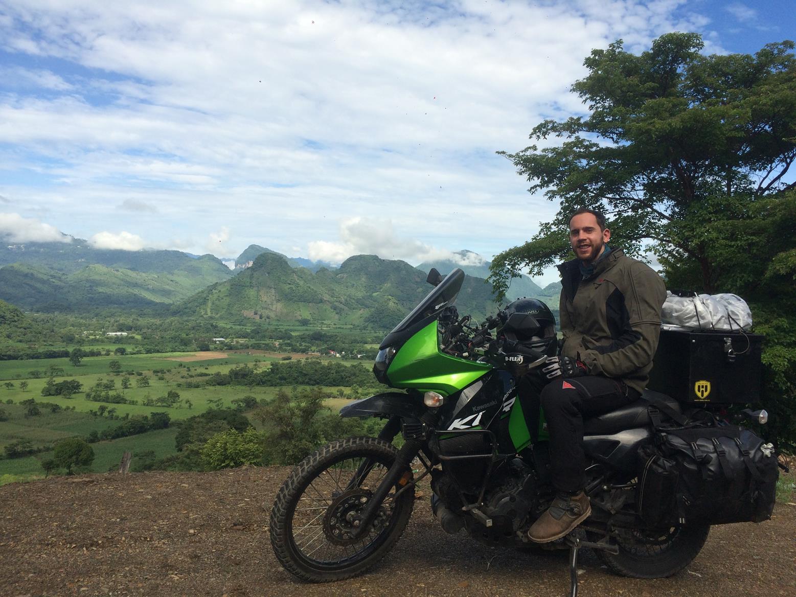 Kelias Visor Clear inventor Elijah Anisovets with his Kawasaki KLR650