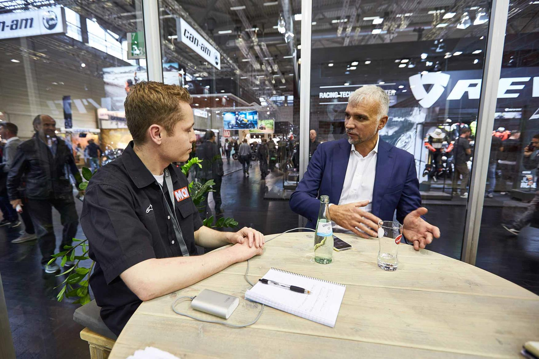 MCN's Dan Sutherland talks with Rodolfo Frascoli at Intermot